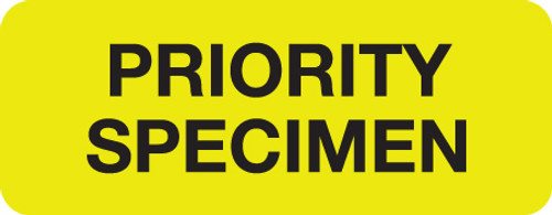 """PRIORITY SPECIMEN"" LABEL - FL. YELLOW - 2-1/4"" X 7/8"" -  250/ROLL"