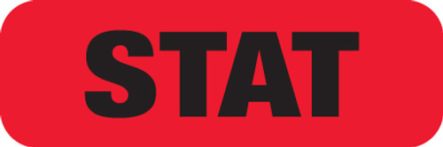 """STAT"" LABEL -   RED/BLK  - 1-/12"" X 1/2"" - 250/ROLL"