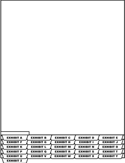 "Tabbies 67916 - ""Exhibit P"" Index Divider Sheet Bottom Tab - White - 8 1/2"" w X 11"" h - 1/2"" Tab Extension - 25/Pack"