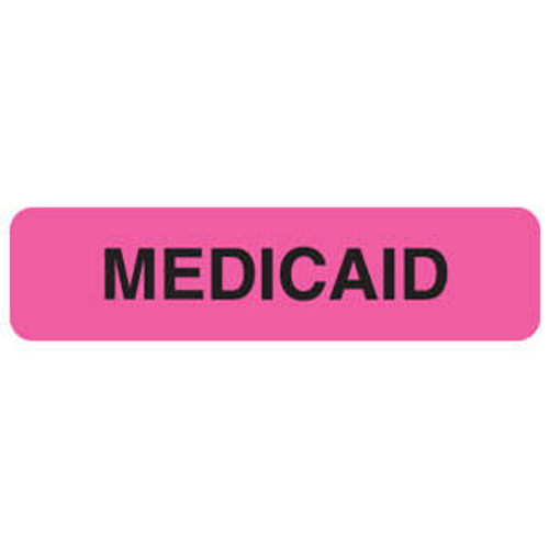 """Tabbies MAP120 - """"Medicaid"""" Fluorescent Pink - 1 1/4"""" W x 5/16"""" H - 500/Roll"""