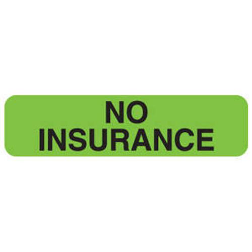 """Tabbies MAP286 - """"No Insurance - Fluorescent Green - 1 1/4""""W x 5/16""""H - 500/Roll"""