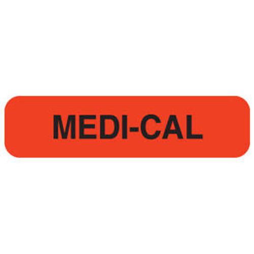 "Tabbies MAP539 - Medi-Cal - Fluorescent Red - 1 1/4"" x 5/16""H - 500/Roll"