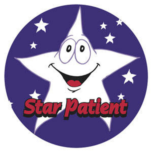 "Tabbies 20004 - Star Patient - Blue - 1 3/4"" Circle - 100/Roll"
