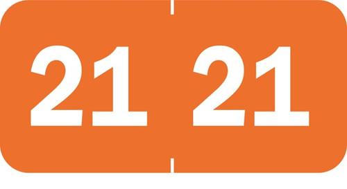"Tabbies 70221 - 3/4"" Yearcode Label '21' -Orange - 3/4""H x 1 1/2""W - 500/Roll"