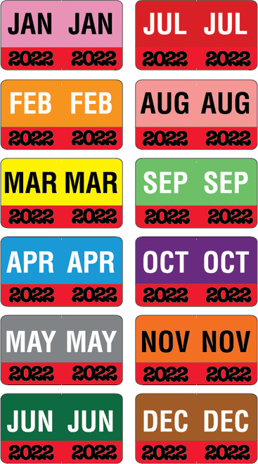 "Month/Year Labels 2022 - Complete Set Jan-December - 2,700 Labels - 1-1/2"" W x 1"" H"