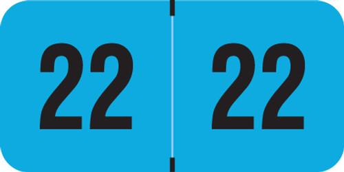 "PMA Fluorescent 2022 Year Labels -  BLUE - 500/Roll - 3/4"" H x 1-1/2"" W - FBYM-22-T4 -"
