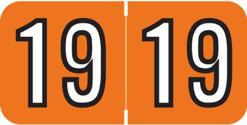 Barkley Systems 2019 Yearband Label BKYM Series - Orange - 500/Roll