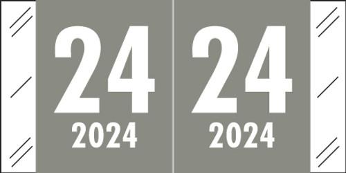 """Col'R'Tab 2024 Yearband Label (Rolls of 500) - Grey - CRYM Series - Laminated -3/4"""" H x 1-1/2"""" W"""