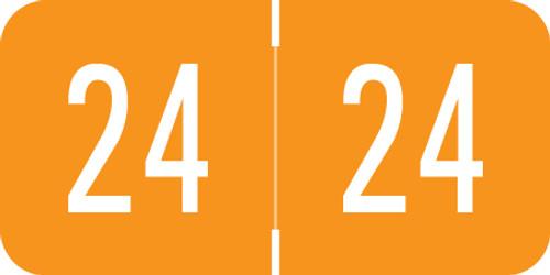 "VRE / GBS 2024 Yearband Label (Rolls) - Orange - 3/4"" H x 1 1/2"" - 500/Roll"
