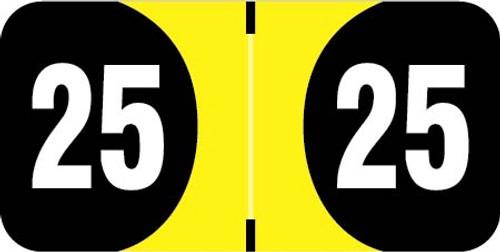 "FilingSupplies.com  Brand 2025 Yearband Label (Rolls of 500) - Yellow - 3/4"" H x 1-1/2 ""W - Series"