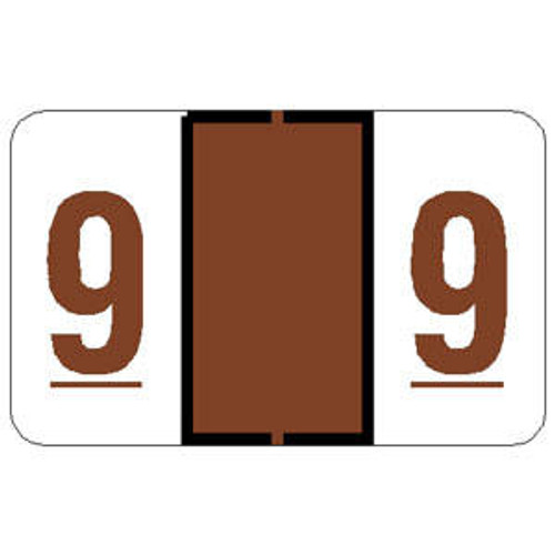 """Tabbies 71109 - TAB PRODUCTS & JETER 6100 COMPATIBLE NUMERIC 71100 LABELS, 1"""" NUMERIC LABEL '#9', BROWN, 15/16""""H x 1-1/2""""W, 252/PACK"""
