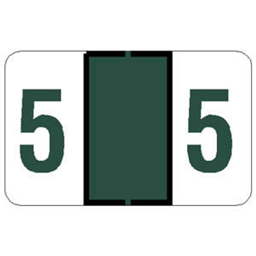 """Tabbies 71105 - TAB PRODUCTS & JETER 6100 COMPATIBLE NUMERIC 71100 LABELS, 1"""" NUMERIC LABEL '#5', DARK GREEN, 15/16""""H x 1-1/2""""W, 252/PACK"""