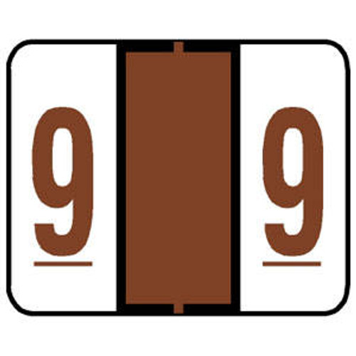 """Tabbies 71009 - TAB PRODUCTS & SMEAD COMPATIBLE 71000 LABEL SERIES, 1"""" NUMERIC LABEL '#9', BROWN, 1""""H x 1-1/4""""W, 500/ROLL"""