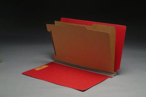 "End Tab Pressboard Folder - 2 Kraft dividers - Legal Size - Tyvek 2"" Expansion - Deep Red - 10/Box"
