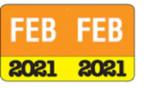 """Month/Year Labels 2021 - February - 225 Labels Per Pack - 1-1/2"""" W x 1"""" H"""