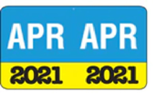 "Month/Year Labels 2021 - April - 225 Labels Per Pack - 1-1/2"" W x 1"" H"