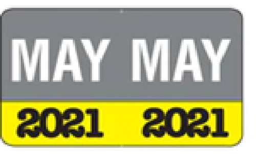 """Month/Year Labels 2021 - May - 225 Labels Per Pack - 1-1/2"""" W x 1"""" H"""