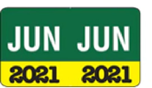 """Month/Year Labels 2021 - June - 225 Labels Per Pack - 1-1/2"""" W x 1"""" H"""