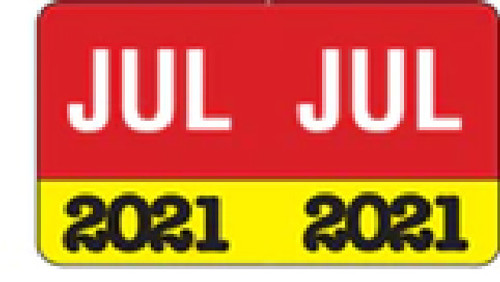 "Month/Year Labels 2021 - July - 225 Labels Per Pack - 1-1/2"" W x 1"" H"