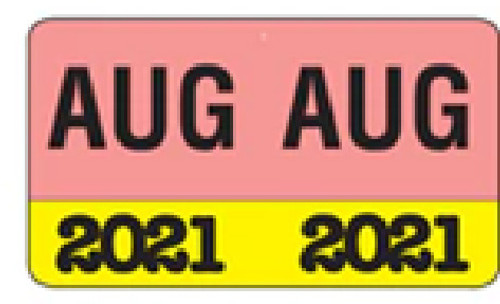 """Month/Year Labels 2021 - August - 225 Labels Per Pack - 1-1/2"""" W x 1"""" H"""
