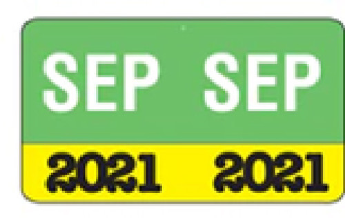 """Month/Year Labels 2021 - September - 225 Labels Per Pack - 1-1/2"""" W x 1"""" H"""