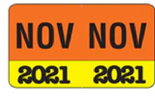 """Month/Year Labels 2021 - November - 225 Labels Per Pack - 1-1/2"""" W x 1"""" H"""