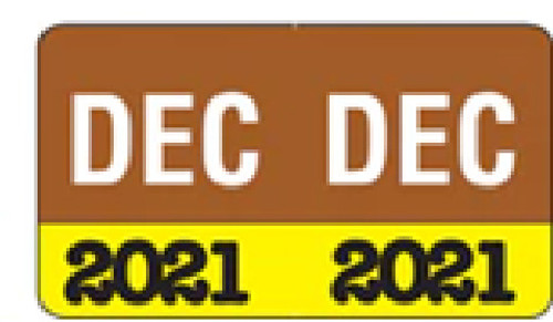"Month/Year Labels 2021 - December - 225 Labels Per Pack - 1-1/2"" W x 1"" H"