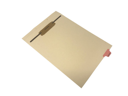 """Ivory letter size end tab fileback divider with position 7 tab printed CORRESPONDENCE and mylared in pink and a 2"""" bonded fastener below score. 125# manila stock. Packaged 50."""