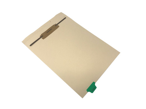"""Ivory letter size end tab fileback divider with position 2 tab printed SURGERY and mylared in medium green and a 2"""" bonded fastener below score. 125# manila stock. Packaged 50."""