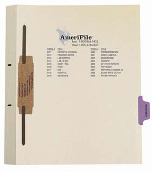 """Ivory letter size side tab fileback divider with position 6 tab printed INSURANCE and mylared in purple and a 2"""" bonded fastener below score. 125# manila stock. Packaged 50."""