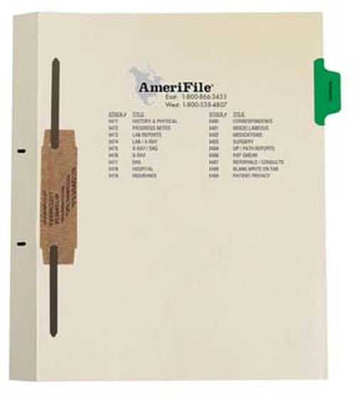 """Ivory letter size side tab fileback divider with position 2 tab printed SURGERY and mylared in medium green and a 2"""" bonded fastener below score. 125# manila stock. Packaged 50."""