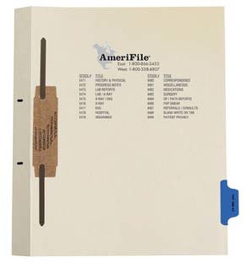 """Ivory letter size side tab fileback divider with position 7 tab printed PAP SMEAR and mylared in medium green and a 2"""" bonded fastener below score. 125# manila stock. Packaged 50."""