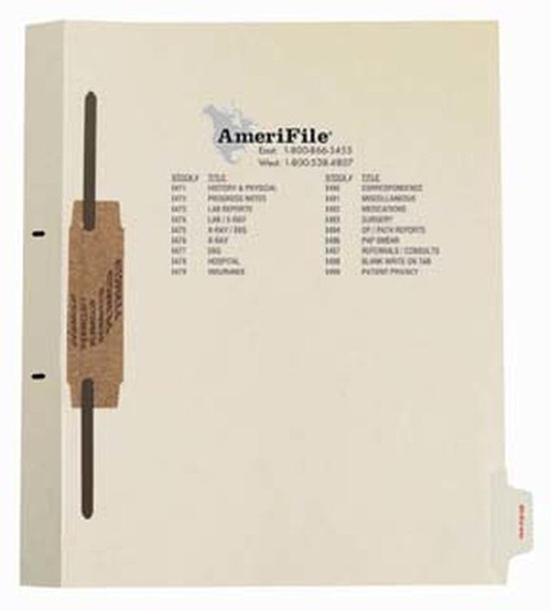"""Ivory letter size side tab fileback divider with position 8 tab no print and no mylar and a 2"""" bonded fastener below score. 125# manila stock. Packaged 50."""