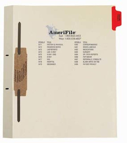 """Ivory letter size side tab fileback divider with position 1 tab printed PATIENT PRIVACY and mylared in red and a 2"""" bonded fastener below score. 125# manila stock. Packaged 50."""
