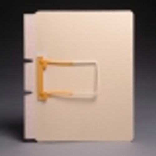 Manila self adhesive side hinge divider with Jalemaclip fastener on front by hinge. 11 pt manila stock. Packaged 50/250.
