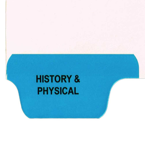 Ivory letter size end tab index divider with position 1 tab printed HISTORY & PHYSICAL and mylared in medium blue. 125# manila stock. Packaged 25.