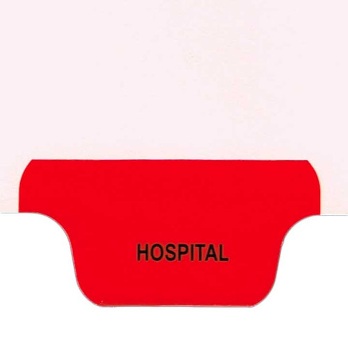 Ivory letter size end tab index divider with position 5 tab printed HOSPITAL and mylared in red. 125# manila stock. Packaged 25.