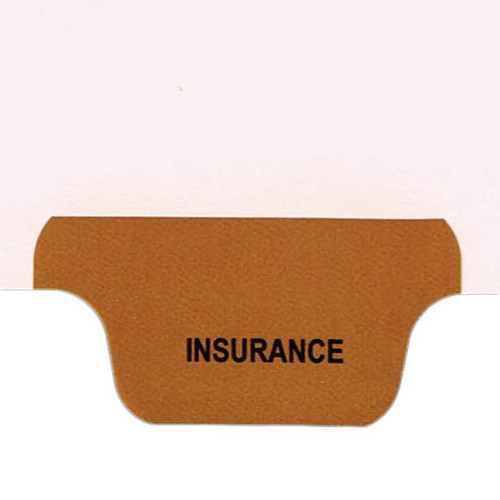 Ivory letter size end tab index divider with position 6 tab printed INSURANCE and mylared in brown. 125# manila stock. Packaged 25.