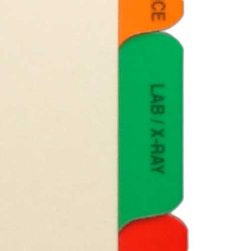 Ivory letter size side tab index divider with position 4 tab printed LAB/X-RAY and mylared in medium green. 125# manila stock. Packaged 25.