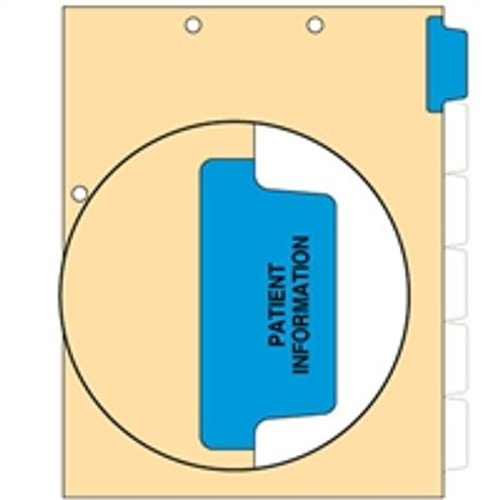 Ivory letter size side tab index divider with position 1 tab printed PATIENT INFO and mylared in medium blue. 125# manila stock. Packaged 100.