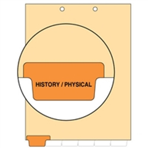 Ivory letter size end tab index divider with position 1 tab printed HISTORY/PHYSICAL and mylared in orange. 125# manila stock. Packaged 100.