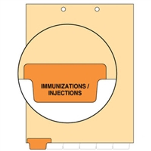 Ivory letter size end tab index divider with position 1 tab printed IMMUNIZATIONS/INJECTIONS and mylared in orange. 125# manila stock. Packaged 100.