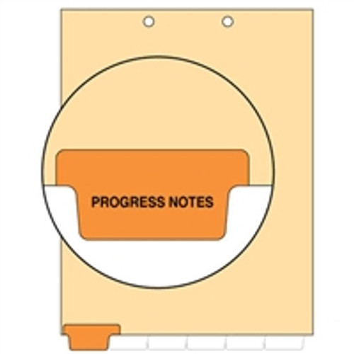 Ivory letter size end tab index divider with position 1 tab printed PROGRESS NOTES and mylared in orange. 125# manila stock. Packaged 100.