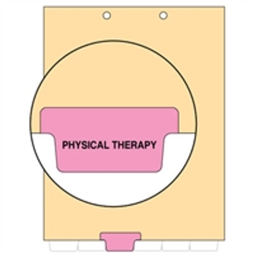 Ivory letter size end tab index divider with position 3 tab printed PHYSICAL THERAPY and mylared in pink. 125# manila stock. Packaged 100.