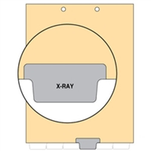 Ivory letter size end tab index divider with position 4 tab printed X-RAY and mylared in gray. 125# manila stock. Packaged 100.