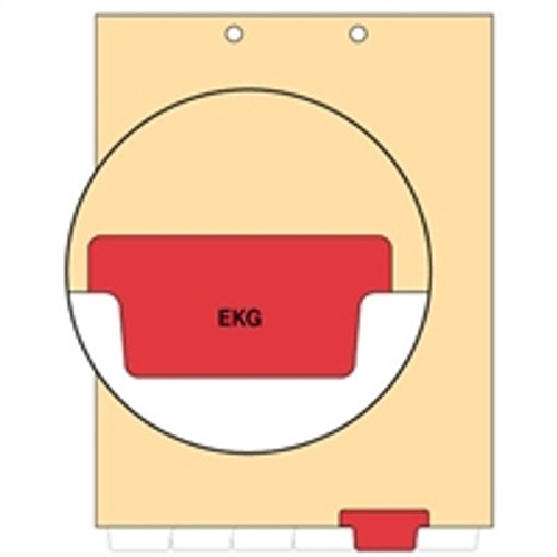 Ivory letter size end tab index divider with position 5 tab printed EKG and mylared in red. 125# manila stock. Packaged 100.