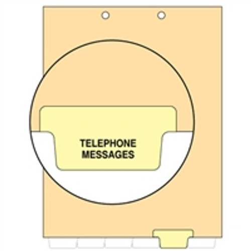 Ivory letter size end tab index divider with position 5 tab printed TELEPHONE MESSAGE and mylared in light yellow. 125# manila stock. Packaged 100.