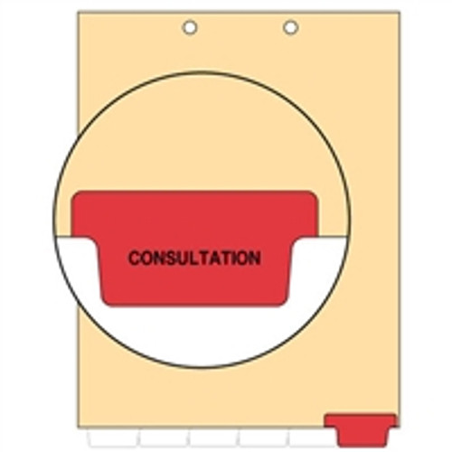 Ivory letter size end tab index divider with position 6 tab printed CONSULTATION and mylared in red. 125# manila stock. Packaged 100.