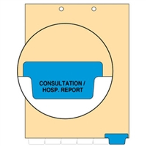 Ivory letter size end tab index divider with position 6 tab printed CONSULT/HOSPITAL REPORTS and mylared in medium blue. 125# manila stock. Packaged 100.