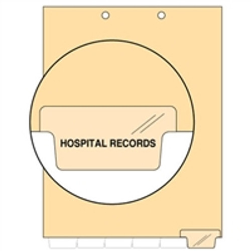 Ivory letter size end tab index divider with position 6 tab printed HOSPITAL RECORDS and mylared in clear. 125# manila stock. Packaged 100.